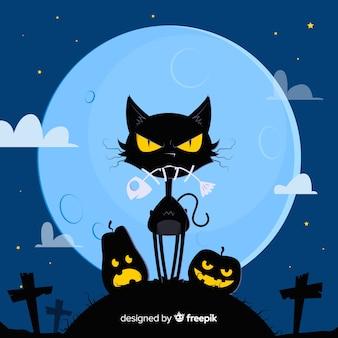 Потрясающая кошка хэллоуина с плоским дизайном
