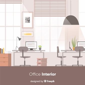 フラットデザインのエレガントなオフィスインテリア