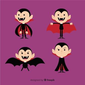 フラットデザインのカラフルなハロウィン吸血鬼のキャラクターコレクション
