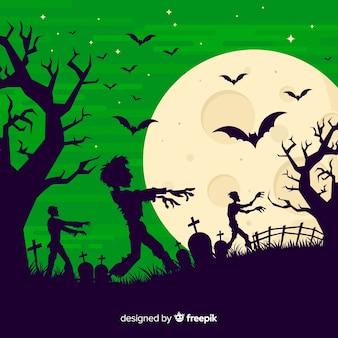 Жуткий фон хэллоуина с плоским дизайном