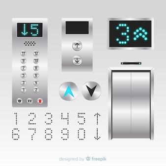 現実的なデザインのエレベーターエレメントコレクション