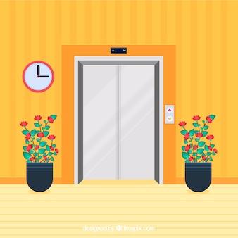 Современный лифт с плоским дизайном