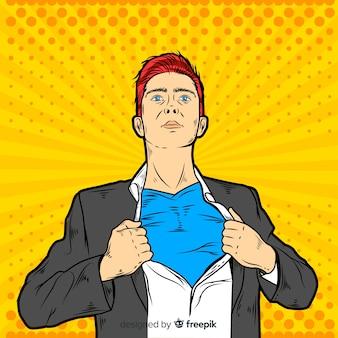 ポップアートスタイルのスーパーヒーローキャラクター