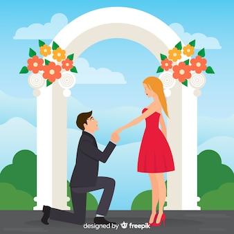 漫画スタイルの素敵な結婚提案