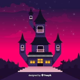 フラットデザインの恐ろしい幽霊のある家