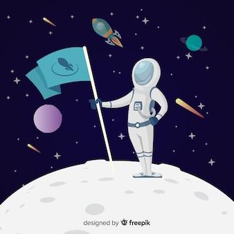 Красочная композиция космонавта с плоской конструкцией