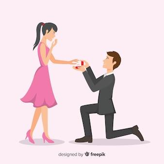 Композиция с прекрасным брачным предложением с плоским дизайном
