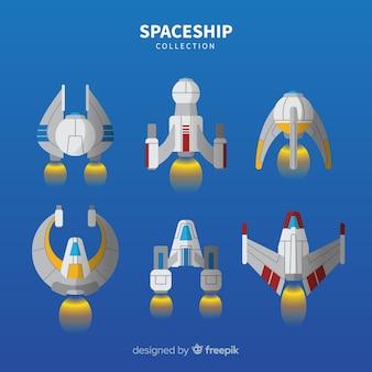 フラットデザインの現代宇宙船コレクション