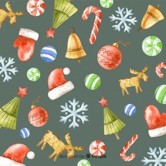 伝統的な水彩クリスマスの背景