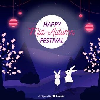フラットデザインの中秋祭の背景