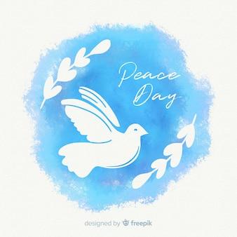 Акварельный мир день композиции с прекрасным голубем