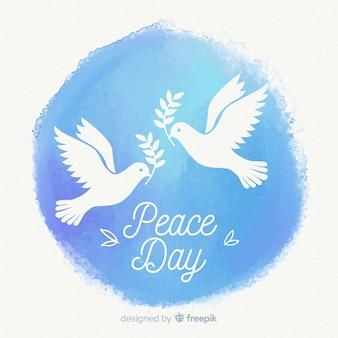 素敵な鳩と水彩画の平和の日の構成