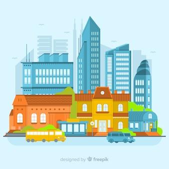 フラットデザインの現代都市景観