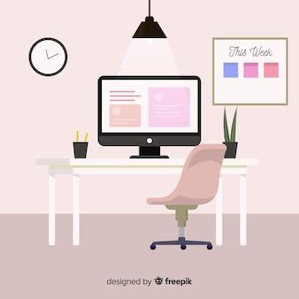 Современный офисный стол с плоским дизайном
