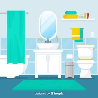 フラットデザインのモダンなバスルーム
