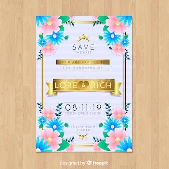現実的なデザインと素敵な花嫁の結婚式の招待状