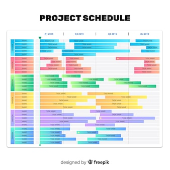グラデーションスタイルのカラフルなプロジェクトスケジュールテンプレート