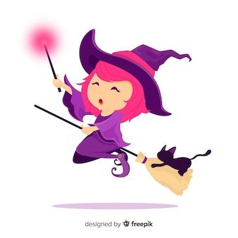 フラットデザインの素敵な魔女キャラクター
