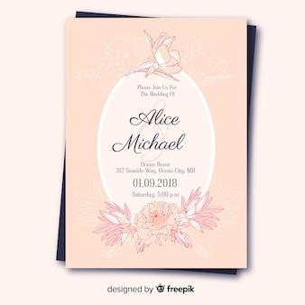 牡丹の花と素敵な結婚式の招待状のテンプレート