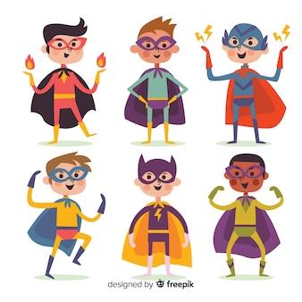 Современная коллекция персонажей супергероев с плоским дизайном