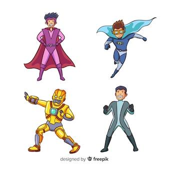 現代手描きのスーパーヒーローキャラクターコレクション