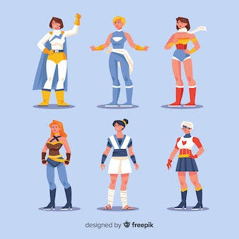 フラットデザインの女性スーパーヒーローキャラクターコレクション