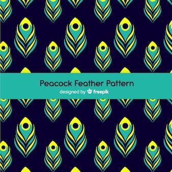 フラットなデザインの素敵なピーコックの羽のパターン