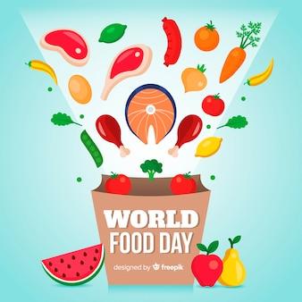 現代世界の食べ物の日の背景
