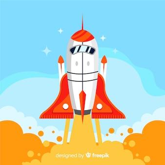 フラットデザインのカラフルなロケット