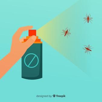 手を持つ蚊のスプレーの概念