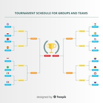 フラットデザインのカラフルなトーナメントスケジュール