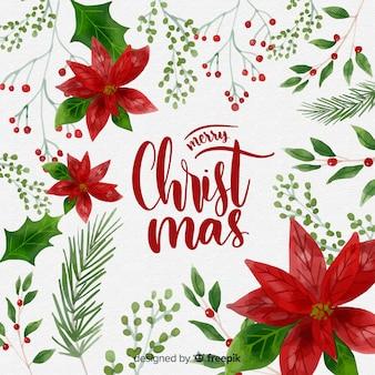 Традиционный акварельный рождественский фон
