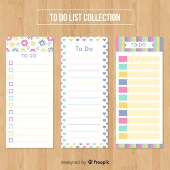 フラットなデザインのリストコレクションをカラフルに