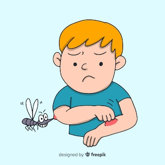 Нарисованный вручную состав укуса комара