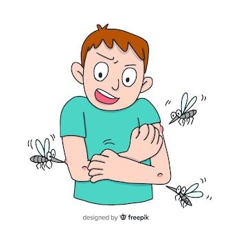 蚊の咬傷の手描きの組成