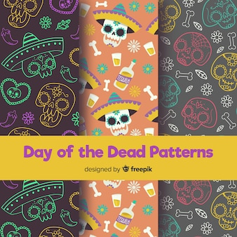 カラフルな手描きのディアドミュアトスパターンコレクション