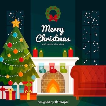 フラットデザインのカラフルなクリスマスの背景