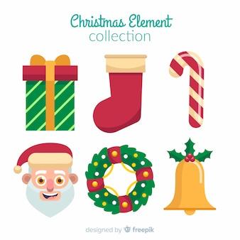 フラットデザインのカラフルなクリスマスエレメントコレクション