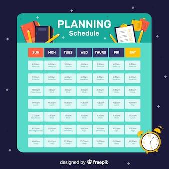 フラットデザインによるカラフルな計画スケジュールのコンセプト