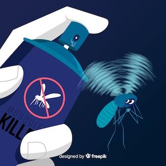 平らなデザインの蚊帳スプレーを手に持つ