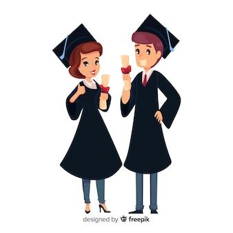 Концепция выпускного экзамена со счастливыми учениками