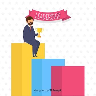Концепция лидерства в плоском стиле