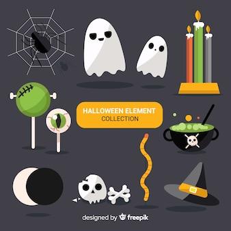 Красочная коллекция элементов хэллоуина с плоским дизайном