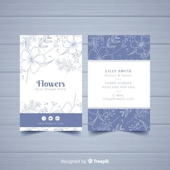 花のデザインとラブリー名刺テンプレート