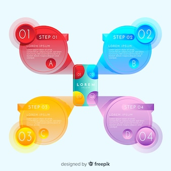 Инфографические шаги с градиентным стилем