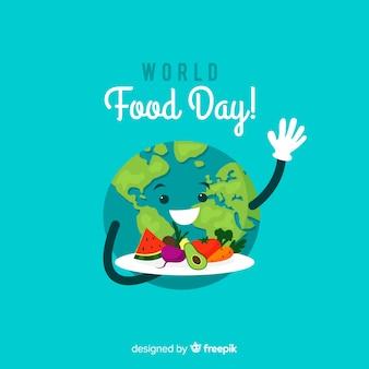 地球を持つ世界の食べ物の日の背景