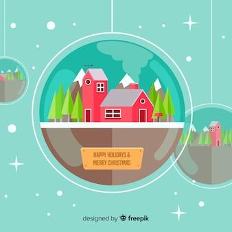 Прекрасный рождественский фон с плоским дизайном