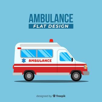 フラットデザインの救急車