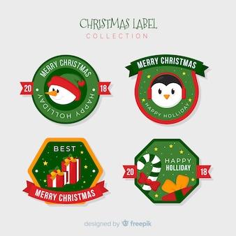 フラットデザインのクリスマスラベルの素敵なセット