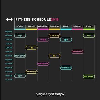 Современный график расписания тренажерного зала с плоским дизайном